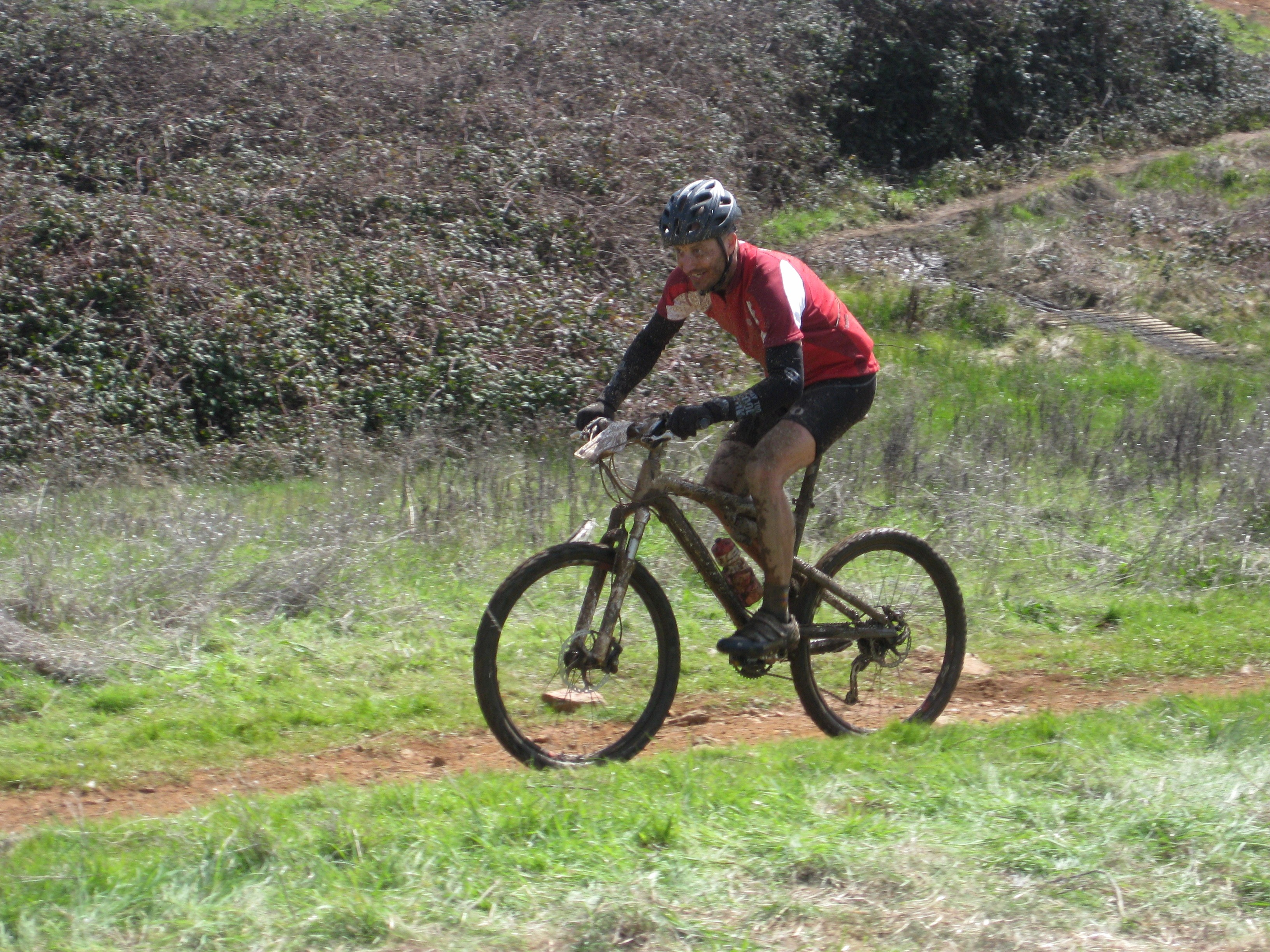 Craig finishing his first and only mtn bike race in March