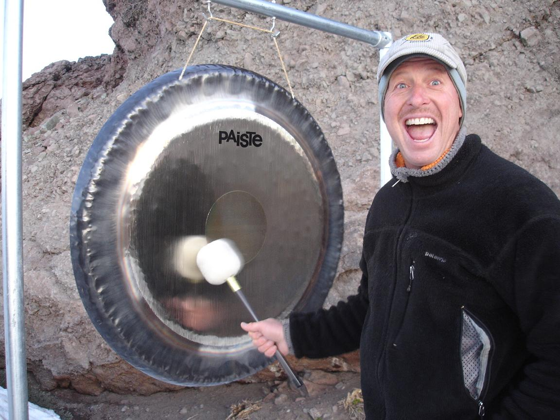 My crazy brother/pacer/crew Chris and his gong at Emigrant Pass.