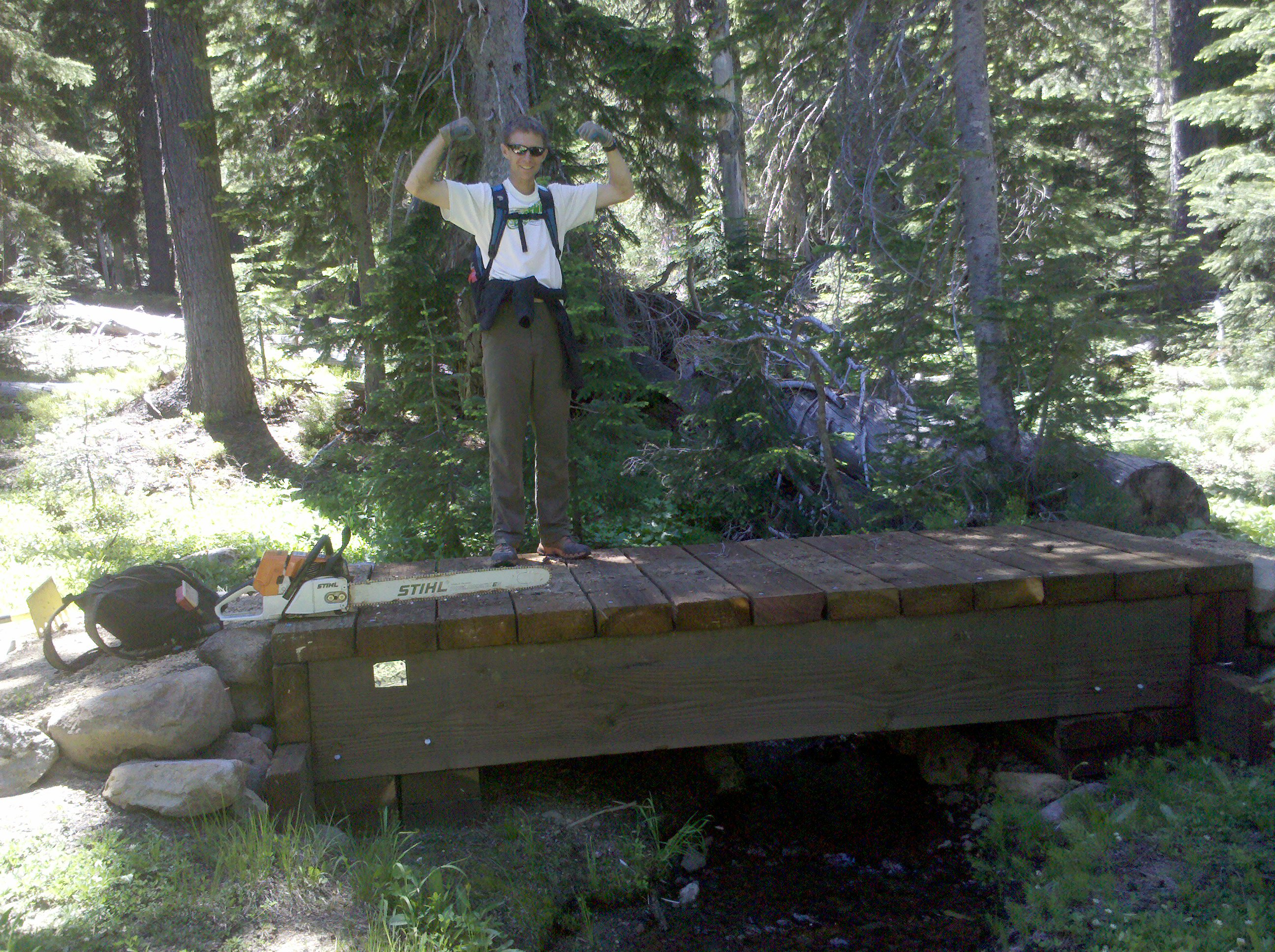 Dan Olmstead on one of the bridges race volunteers built in 2008
